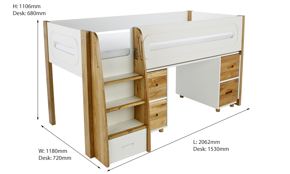 bed with desk