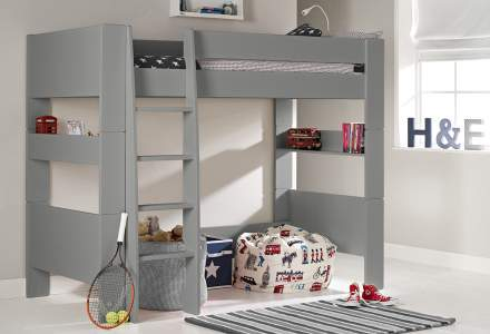 grey high bed