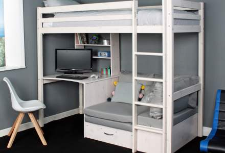 high bed with chair