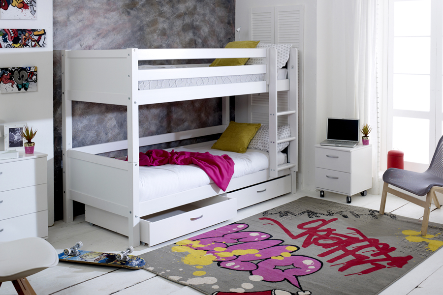 nodic bunk with drawers-white