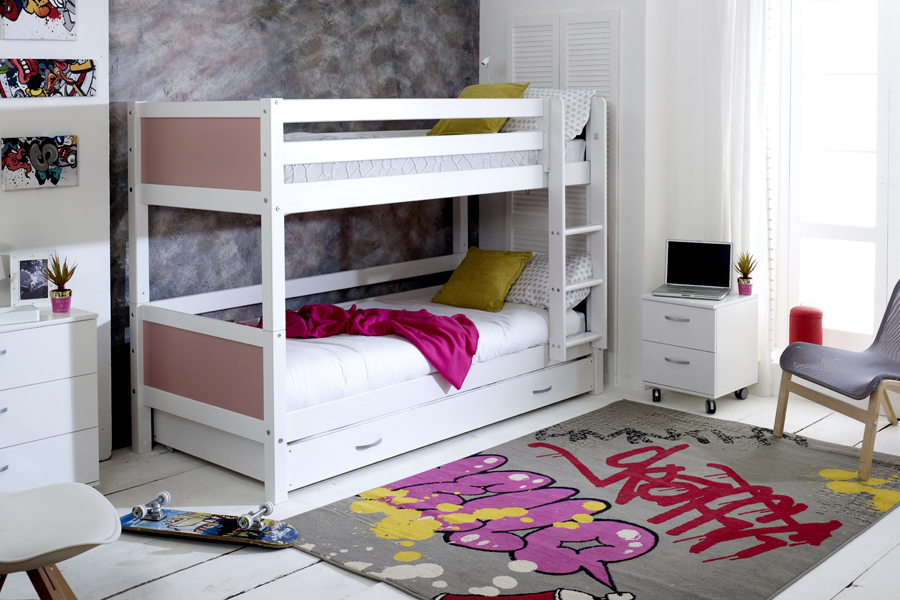 nodic bunk with drawers-pink