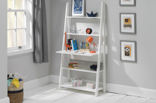 Delta Desk with Shelving in White