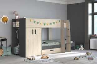 oak and grey bunk bed