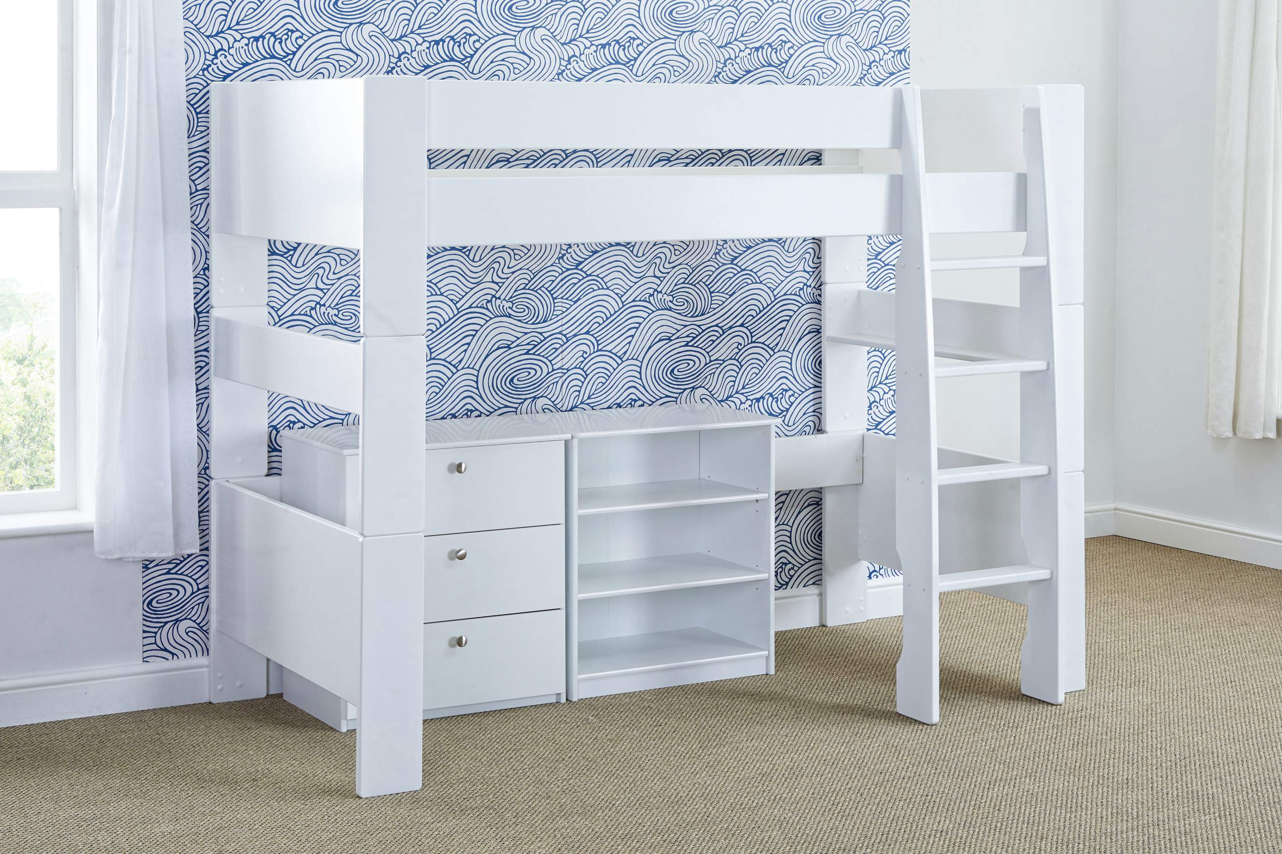 Bloc High Sleeper with chest and bookcase - naked